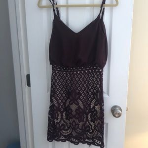 Purple and beige lace dress